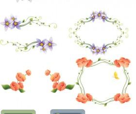 Various Floral Color Frames vector set