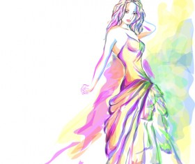 Set of Fashion Beautiful Girls vector 03