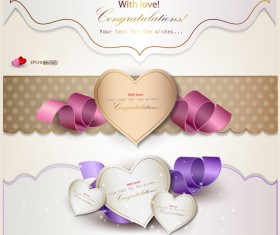 Set of Cute Gift cards vector 02