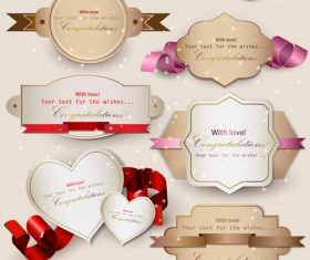 Set of Cute Gift cards vector 03