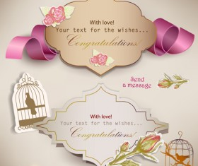 Set of Cute Gift cards vector 04