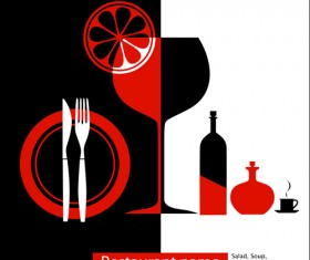 Elements of commonly Restaurant Menu cover vector 03
