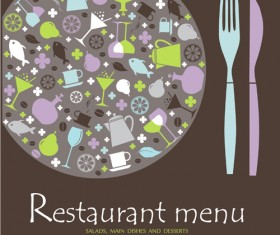 Elements of commonly Restaurant Menu cover vector 05