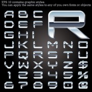 Link toSet of metal style fonts vector 01