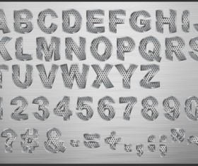 Set of Metal style fonts vector 02