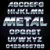 Set of Metal style fonts vector 03