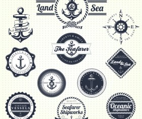 Set of Nautical labels vector 05