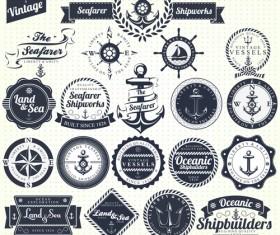 Set of Nautical labels vector 06