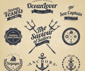 Set of Nautical labels vector 07