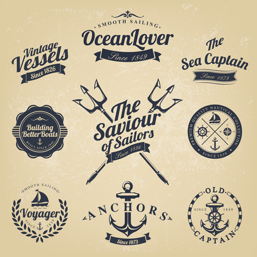 Set of Nautical labels vector 07