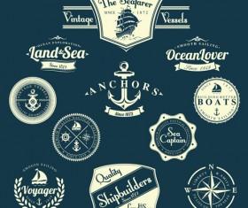Set of Nautical labels vector 08