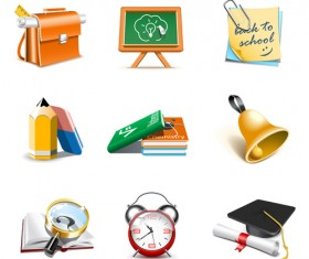office Tool and school elements icon vector 04