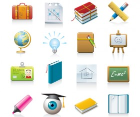 office Tool and school elements icon vector 05