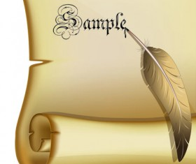 Set of old parchment Scrolls vector 03