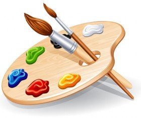 Set of Wooden palette and brushes vector 01