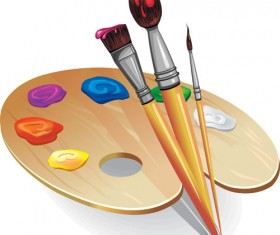 Set of Wooden palette and brushes vector 02