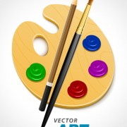 Link toSet of wooden palette and brushes vector 03