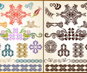 Various Plant Decoration pattern vector 04