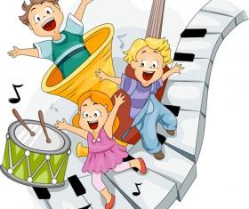 Playing children Cartoon vector set 01