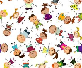 Playing children Cartoon vector set 02