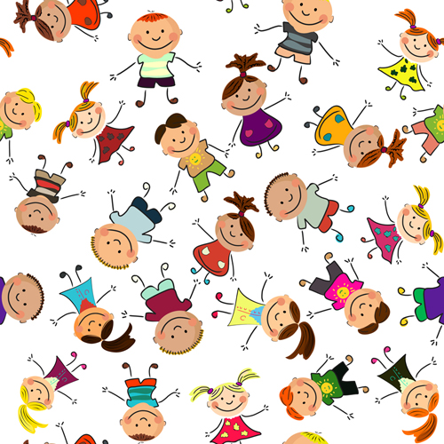 Playing children Cartoon vector set 02