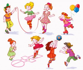 Playing children Cartoon vector set 03