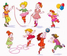 Playing children Cartoon vector set 03