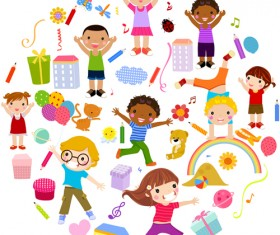 Playing children Cartoon vector set 04