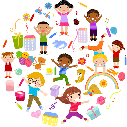 Playing Children Cartoon Vector Set 04 Free Download