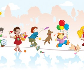 Playing children Cartoon vector set 05