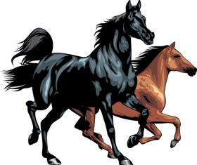 Different Running horses vector 02