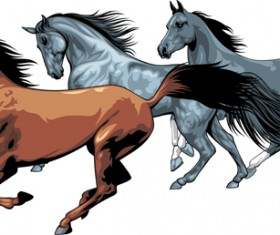 Different Running horses vector 03