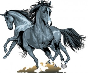 Different Running horses vector 04