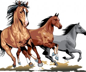 Different Running horses vector 05