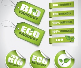 eco Stickers and Tag vector