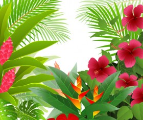 Elements of Tropical Scenery background vector 02