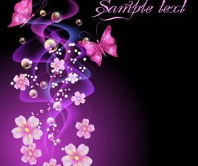Beautiful Flowers elements background vector 02