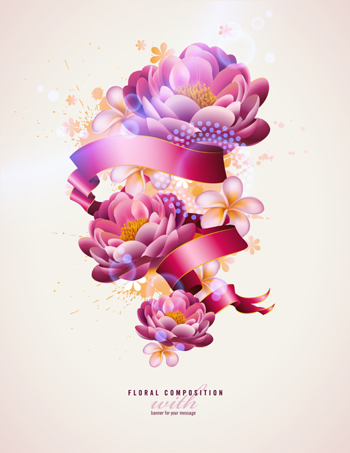 Beautiful Flowers elements background vector 05