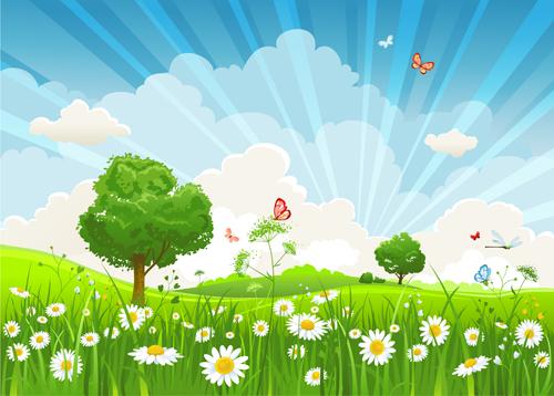 Vivid Spring Elements Vector Background 05