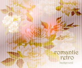 Elements of Vintage background with flowers vector graphics 01