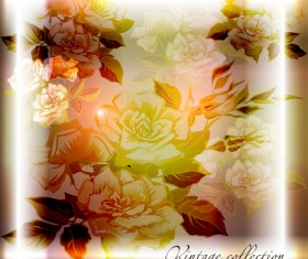 Elements of Vintage background with flowers vector graphics 02