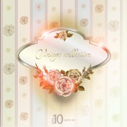 Link toElements of vintage background with flowers vector graphics 04
