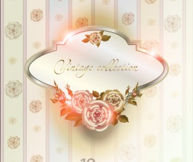 Elements of Vintage background with flowers vector graphics 04