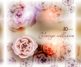 Elements of Vintage background with flowers vector graphics 05