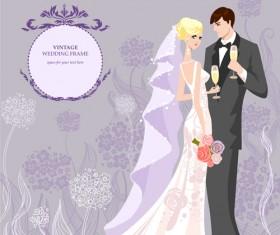 Romantic Wedding elements Backgrounds vector 01
