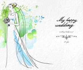 Romantic Wedding elements Backgrounds vector 02
