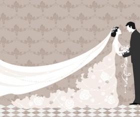 Romantic Wedding elements Backgrounds vector 05