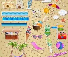 Different Summer Seaside elements vector set 01