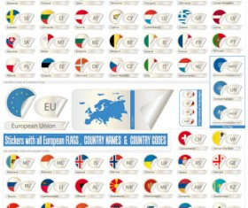 Various National flag Stickers vector graphic