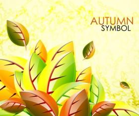 autumn leaves elements background vector set 03